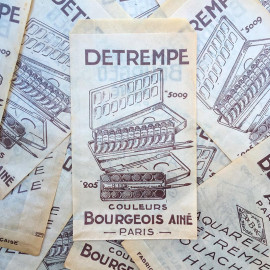 sachet ancien aquarelle peinture bourgeois paris illustration emballage papier vintage 1960