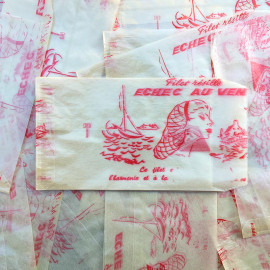 sachet ancien filet resille cheveux illustration emballage papier vintage 1960