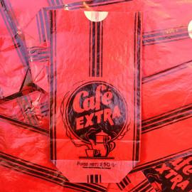 sachet ancien café thé extra rouge 250 grammes illustration emballage papier vintage 1960
