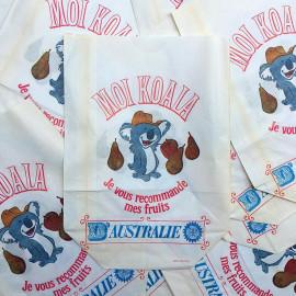 paper bag koala fruit australia grocery old antique vintage illustration 1960