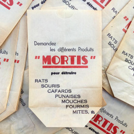 sachet ancien mortis insecticide insectes illustration emballage papier vintage 1960