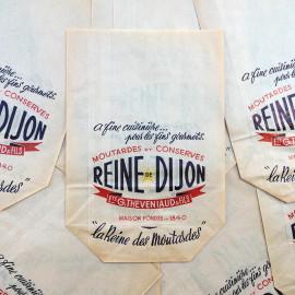 sachet ancien moutarde dijon cuisine conserve illustration emballage papier vintage 1960