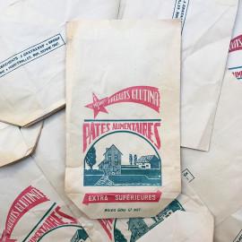 sachet ancien pates alimentaires la meuniere glutina illustration emballage papier vintage 1960