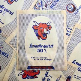 sachet ancien la vache qui rit bonbel babybel bel fromage illustration emballage papier vintage 1960