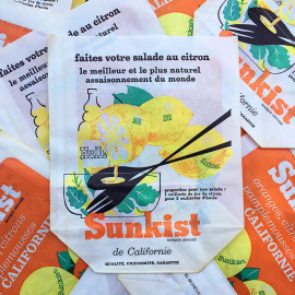 paper bag sunkist fruits orange lemon grapefruit california old antique vintage illustration 1960