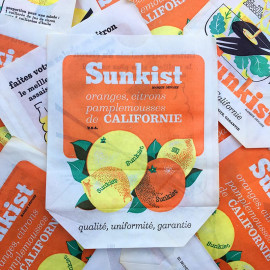 sachet ancien sunkist fruits orange citron pamplemousse californie illustration emballage papier vintage 1960