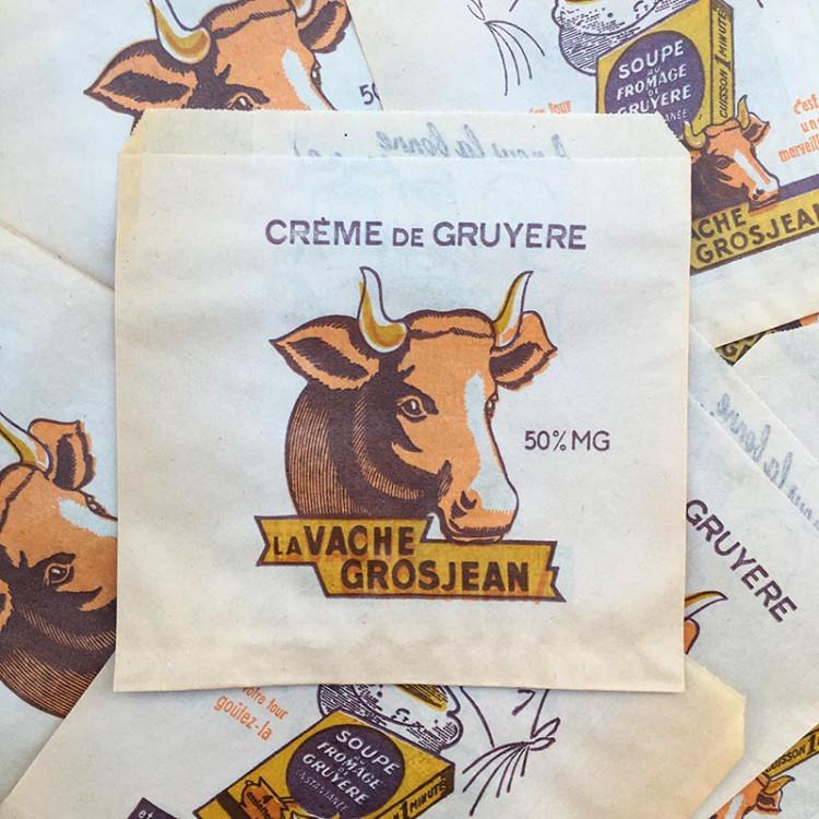 paper bag la vache grosjean cow french cheese soup old antique vintage illustration 1960
