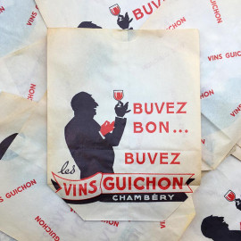 sachet ancien vin rouge guichon alcool chambery illustration emballage papier vintage 1960