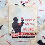 paper bag red wine guichon chambéry old  alcohol antique vintage illustration 1960