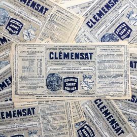 étiquette ancienne papier eau source minérale  clémensat saint odillon ancien vintage 1930