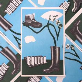 buvard publicitaire ancien vintage botte obleu plante baudou illustration 1960