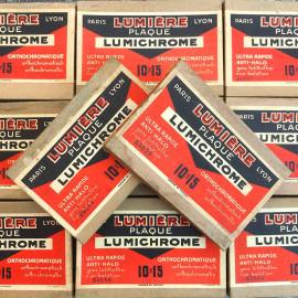 boite plaques lumière frères lumichrome 10 15 1930 papier carton ancien vintage photo 1930
