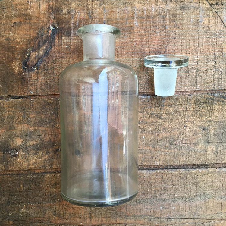 500ml transparent glass cap vintage pharmacy bottle jar 1970 french brocante