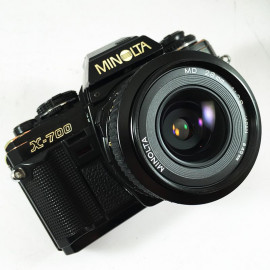 minolta x 700 x-700 md 28mm 2.8 reflex 35mm analog film vintage camera wide angle