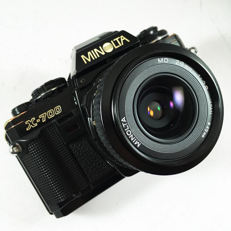 minolta x 700 x-700 md 28mm 2.8 reflex 35mm analog film vintage camera wide angle