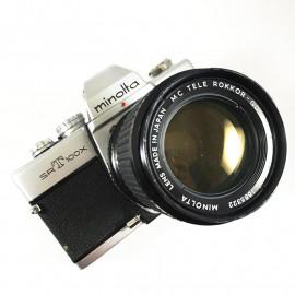 minolta srt100 srt 100X chrome ancien appareil argentique vintage 24 36 35mm objectif 135mm 3.5 mc tele rokkor 2