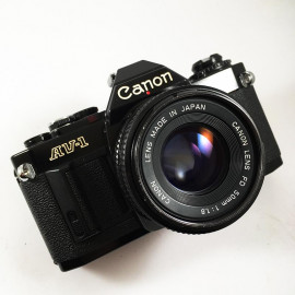 Canon AV-1 35mm Film Camera reflex vintage antique 50mm 1.8 black