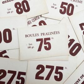 étiquette prix cartonnée carton ancien vintage épicerie  1950