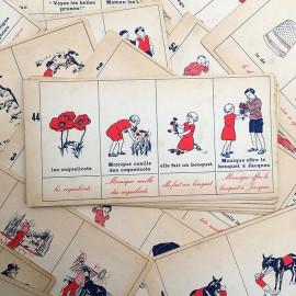 fiche lecture méthode mixte ancien vintage armand colin 1950 carton