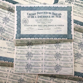 crédit foncier brésil stock bearer antique vintage paper printing factory 1930 brasil