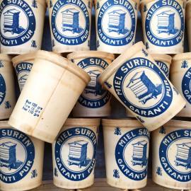 pot de miel surfin carton cire ancien vintage 1950 miellerie apiculteur