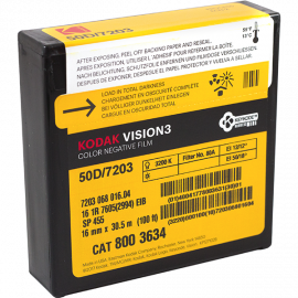 kodak vision 3 50D 7203 film pellicule caméra ancienne vintage cinéma 16mm 30.5m 100ft 100 feet