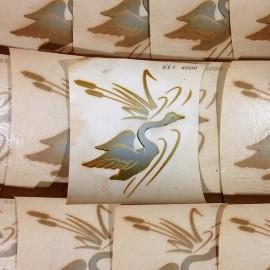 Cygne décalcomanie vintage eau sticker 1960 stock imprimerie ancien
