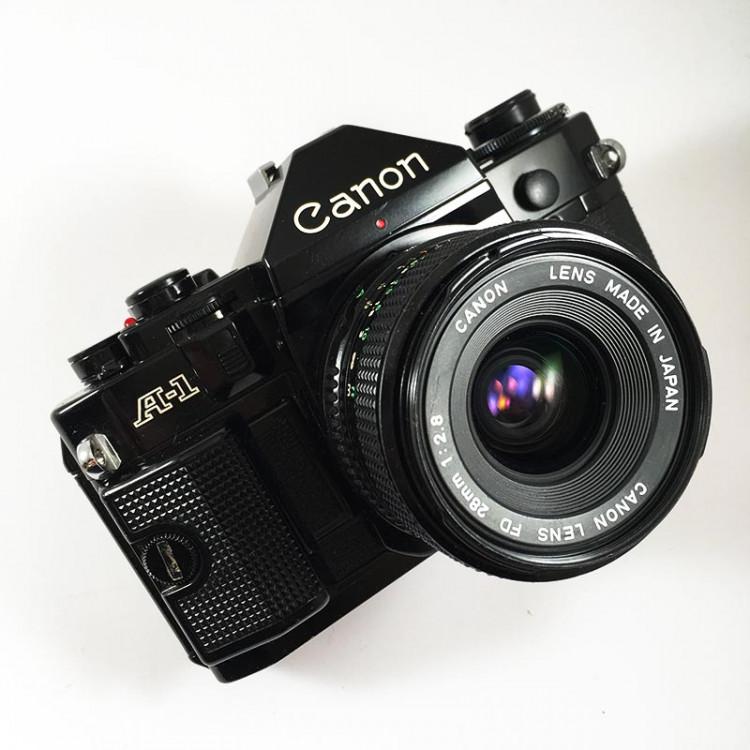 canon a1 ancien appareil reflex 35mm 135 noir 28mm 2.8 argentique