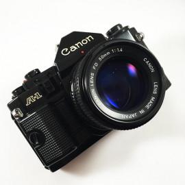 canon a1 ancien appareil reflex 35mm 135 noir 50mm 1.4 argentique