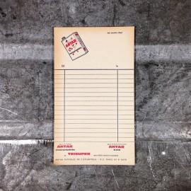 antar bill scratch pad vintage 1970 garage