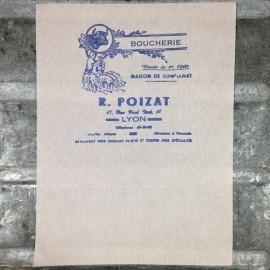 raymond poizat boucherie lyon papier emballage viande Lyon 1960