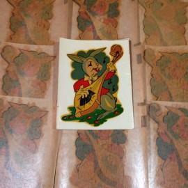 lapin musique musicien instrument vintage décalcomanie sticker eau école 1960