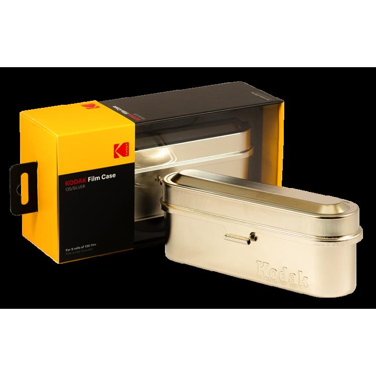 Kodak film case 35mm 5 films film analog vintage metal metallic sort travel storage store silver