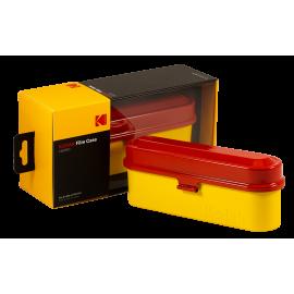 Kodak film case 35mm 5 films film analog vintage metal metallic sort travel storage store red and yellow