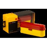 boite de rangement kodak case 5 pellicules 35mm métal métallique vintage argentique rouge et jaune