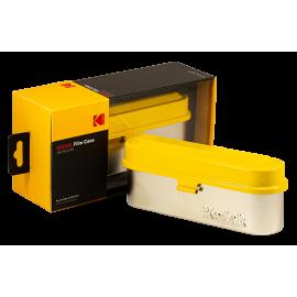 Kodak film case 35mm 5 films film analog vintage metal metallic sort travel storage store yellow and silver