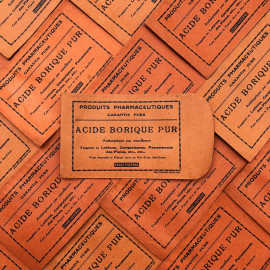small paper bag red acide borique 1940 1930 pharmacy medicine doctor vintage antique