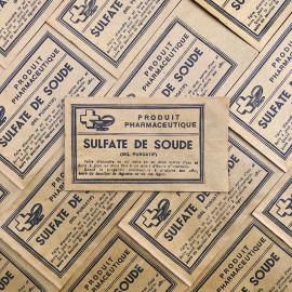 sachet sulfate de soude jaune pharmacie ancien stock vintage 1940 1930 emballage