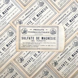 sachet sulfate de magnesie jaune pharmacie ancien stock vintage 1940 1930 emballage