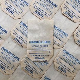 sachet pharmacie du centre m mme igier macon ancien stock vintage 1940 1930 emballage soufflet