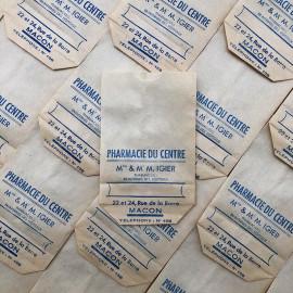 small paper bag pharmacie du centre pharmacist macon igier 1940 1930 pharmacy medicine doctor vintage antique