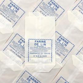 sachet farine de lin pharmacie du centre m mme igier macon ancien stock vintage 1940 1930 emballage soufflet