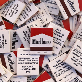 advertising marlboro tobacco matches from old french bar lyon