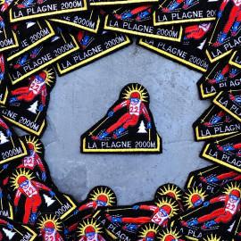 patch station de ski snow la plagne savoie sport hiver 1990 1992 ancien vintage broderie atelier skieur