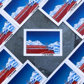 postal card la plagne ski station snow winter savoy french france patch antique vintage 1990 1992