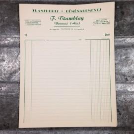 facture tramblay transport transports déménagement déménagements ancien vintage papier lyon 1950
