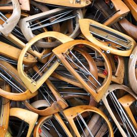 petite navette bois métal atelier tissage soie filature ancien vintage mercerie 1930