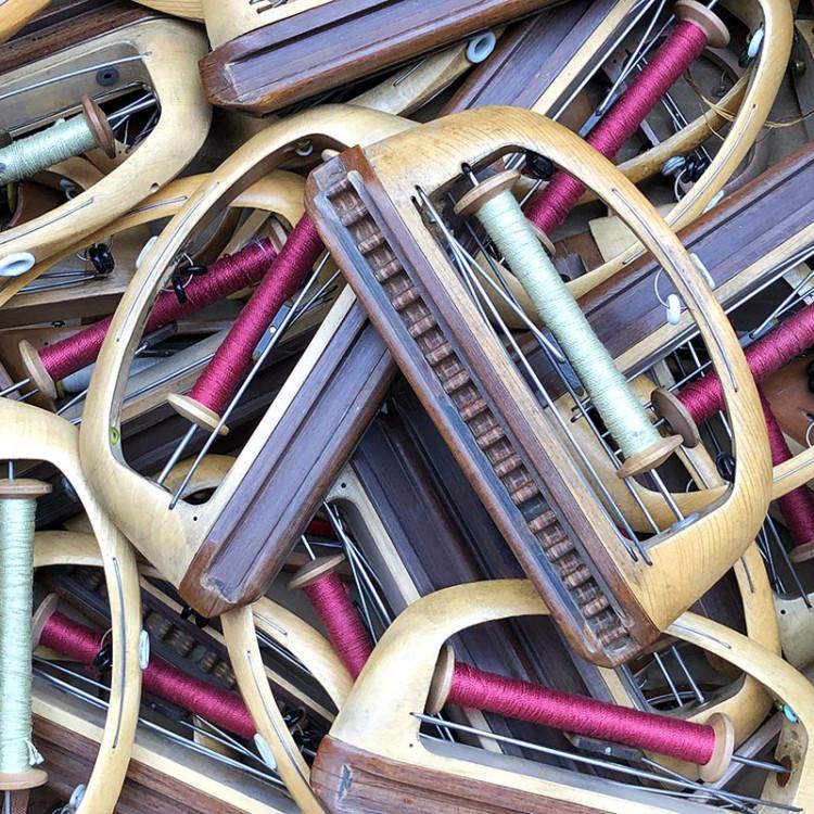 weaving shuttle with thread bobbin workshop antique vintage haberdashery wood 1930 1950
