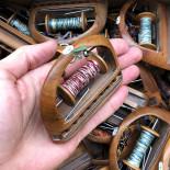 small little weaving shuttle with thread bobbin workshop antique vintage haberdashery wood 1930 1950