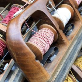 triple weaving shuttle with three thread bobbins workshop antique vintage haberdashery wood 1930 1950